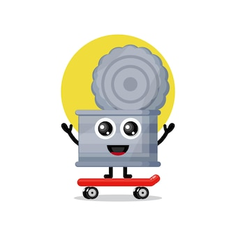 Pattumiera skateboard simpatico personaggio mascotte