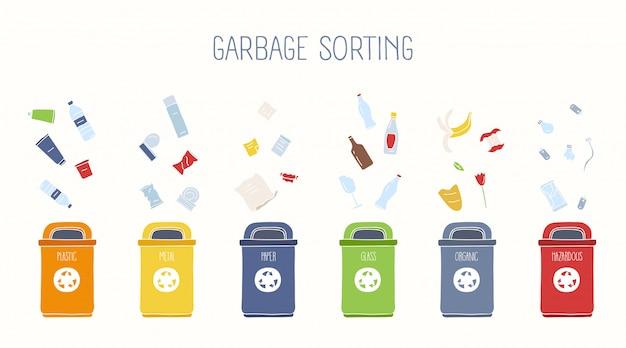 Contenitori dell'immondizia e vari tipi di rifiuti