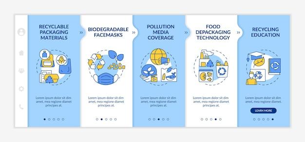 Modello vettoriale di onboarding delle tendenze di riciclaggio dei rifiuti. sito mobile reattivo con icone. procedura dettagliata della pagina web 5 schermate di passaggio. concetto di colore di produzione biodegradabile con illustrazioni lineari