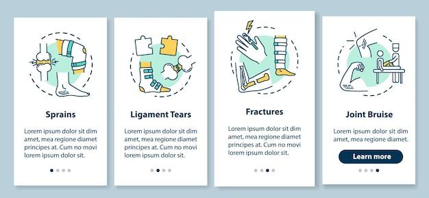 Tipi di traumi sulla schermata della pagina dell'app mobile a bordo con i concetti. distorsioni, rotture dei legamenti, fratture, lividi articolari, istruzioni grafiche in 4 passaggi. modello vettoriale dell'interfaccia utente con illustrazioni a colori rgb