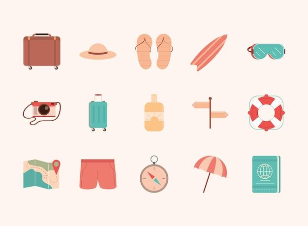 Set di icone di accessori da viaggio