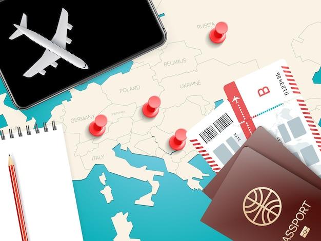 Illustrazione di accessori da viaggio.
