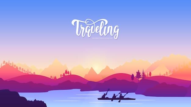 Viaggio attivo sport avventura concept design. stile di vita nella natura per chi ama il movimento