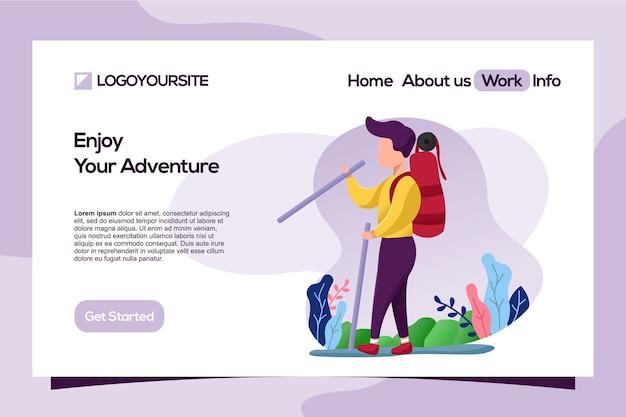 Uso di illustrazione piatta avventura di viaggio nella pagina di destinazione