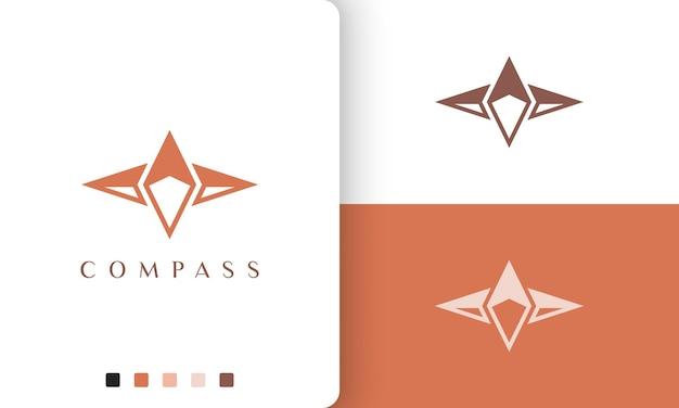 Disegno vettoriale del logo di viaggio o di avventura con una forma della bussola semplice e unica