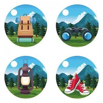 Viaggi e avventura in icone rotonde di natura