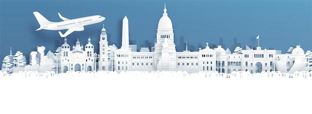Pubblicità di viaggio con viaggio a bueno aires, argentina concetto con vista panoramica sullo skyline della città