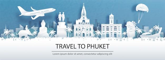 La pubblicità di viaggio con il viaggio a phuket, concetto della tailandia con la vista di panorama dell'orizzonte della città e dei punti di riferimento di fama mondiale nello stile del taglio della carta.