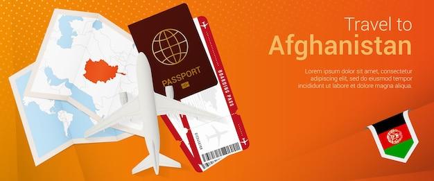 Viaggio in afghanistan pop-under banner. banner di viaggio con passaporto, biglietti, aereo, carta d'imbarco, mappa e bandiera dell'afghanistan.