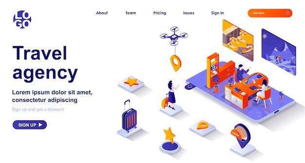 Pagina di destinazione isometrica 3d di agenzia di viaggi con personaggi di persone