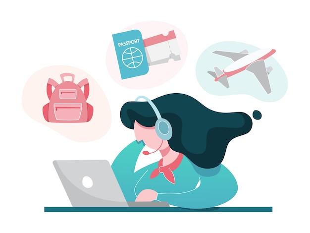 Concetto di agenzia di viaggi. operatore femminile alla ricerca del miglior viaggio
