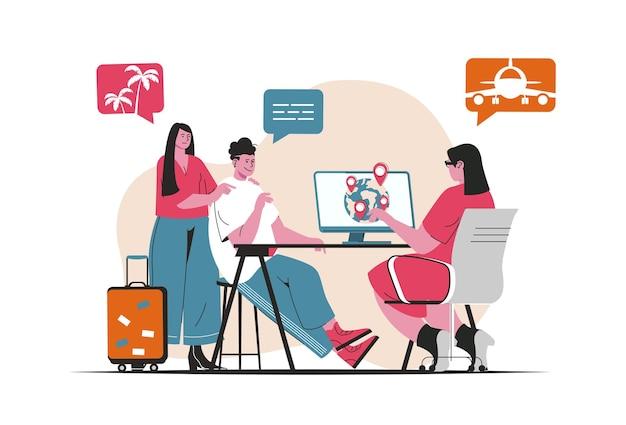 Agenzia di viaggi concetto isolato. turismo internazionale, ricreazione e viaggi. scena di persone nel design piatto del fumetto. illustrazione vettoriale per blog, sito web, app mobile, materiale promozionale.