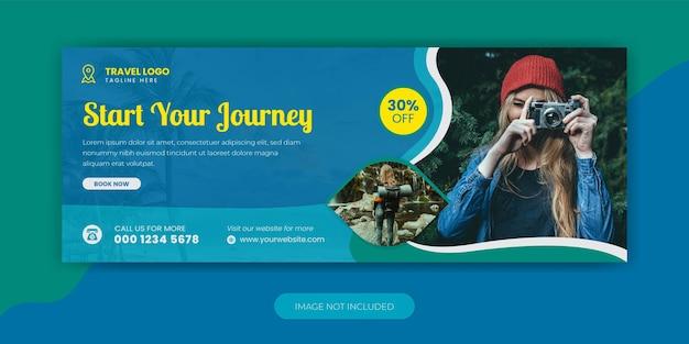 Agenzia di viaggi vacanza vacanza facebook cover template design Vettore Premium