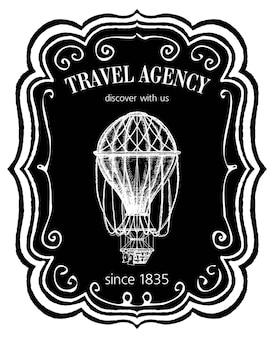 Etichetta vintage dell'agenzia di viaggi o emblema in stile gesso