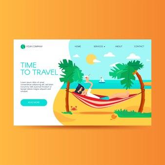 Modello di homepage del sito web dell'agenzia di viaggi. vacanze estive, resort tropicale. pagina di destinazione del turismo