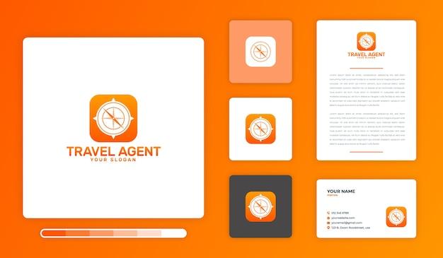 Modello di progettazione di logo di agente di viaggio