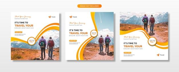 Agente di viaggio e post sui social media turistici o banner web e modello di volantino quadrato