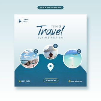 L'agente di viaggio e i social media turistici pubblicano banner web con modello di volantino quadrato con cornice