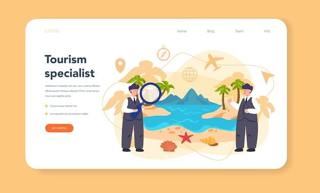 Banner web o pagina di destinazione dell'agente di viaggio.