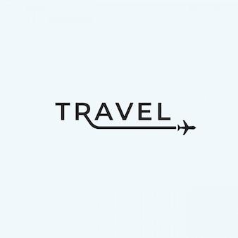 Ispirazione di progettazione del testo di logo dell'aeroplano di viaggio.