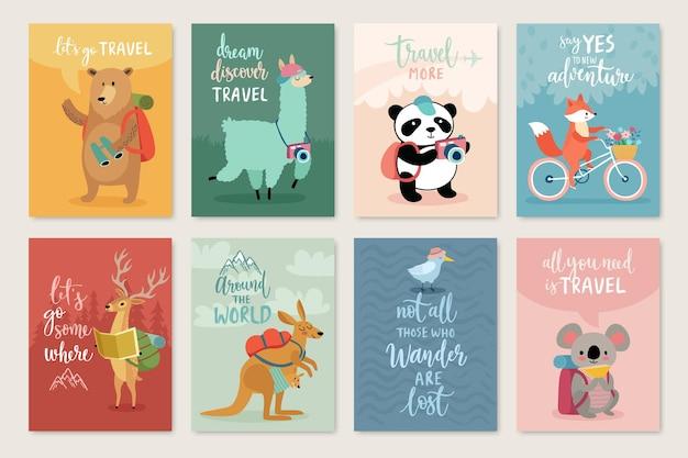 Set di carte di animali da viaggio con calligrafia di motivazione