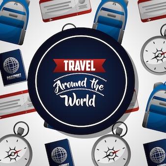 Viaggiare intorno al mondo adesivo blu