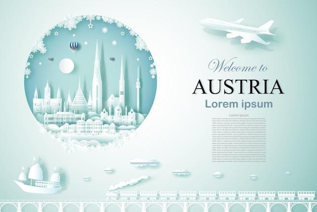 Viaggia in austria antico e monumento di architettura del castello con felice anno nuovo