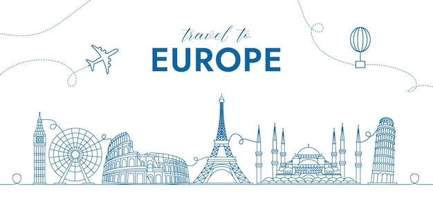 Concetto di sfondo di viaggio con monumenti europei per banner pubblicitari e molto altro