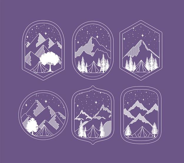 Set di badge di viaggio