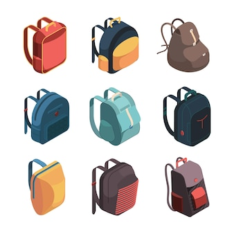 Pacchetto borsa da viaggio. illustrazione di vettore di sacchetti di scuola colorati bagagli isometrica. bagaglio da viaggio, borsa e zaino, avventura bagaglio e zainetto