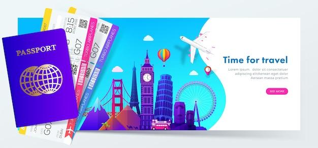 Design di banner di viaggio con famosi monumenti in moderno stile sfumato per sito web di viaggi o turismo