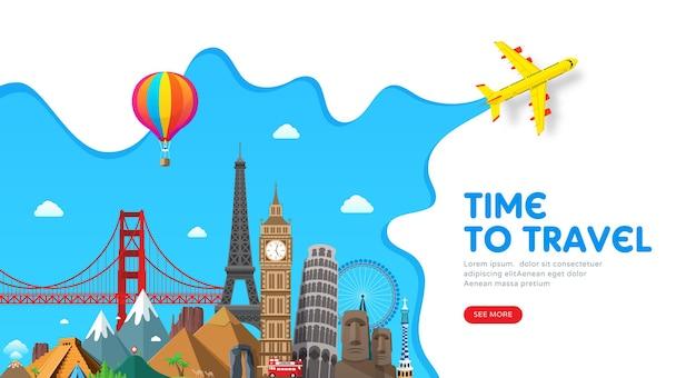 Design di banner di viaggio con famosi punti di riferimento per il popolare blog di viaggio