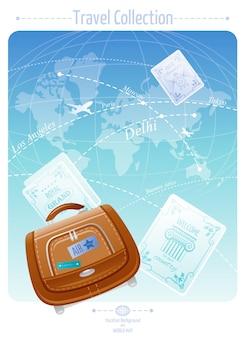Banner di viaggio con mappa del mondo e valigia per le vacanze