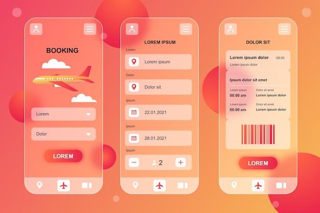 Kit di elementi neumorfici di design glassmorphic per la prenotazione di viaggi per le schermate gui ux dell'interfaccia utente dell'app mobile