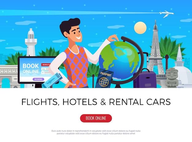 Illustrazione orizzontale di prenotazione di viaggio
