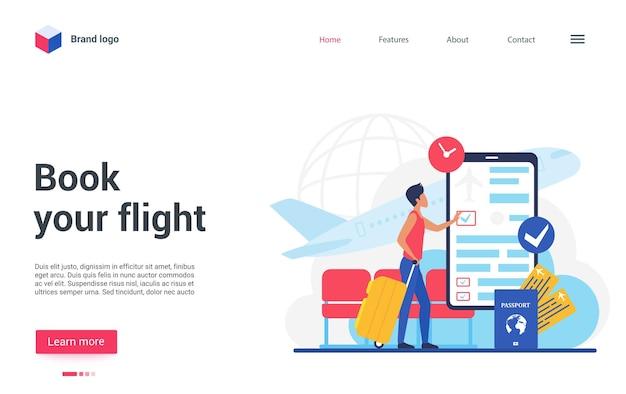 Tecnologia aziendale di viaggio per prenotare la pagina di destinazione del volo, il biglietto aereo per la prenotazione del viaggiatore