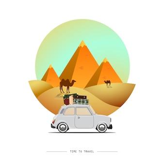 Viaggiare in macchina. viaggio su strada. tempo di viaggiare, turismo, vacanze estive. grandi piramidi egiziane nel deserto. illustrazione design piatto