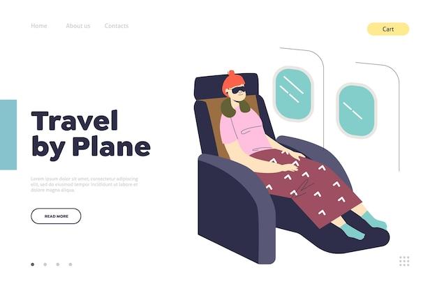 Viaggia in aereo concetto di pagina di destinazione con donna che dorme in aereo