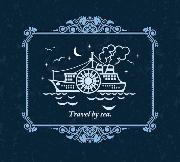 Viaggiare via mare, biglietto di auguri ornamento vintage.