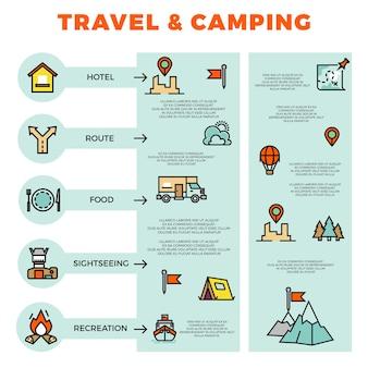 Viaggi e campeggi infografica colorata