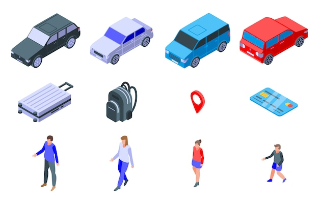 Viaggio su set di icone auto, stile isometrico