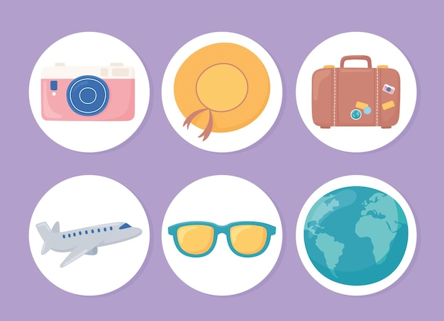 Set di cartoni animati da viaggio