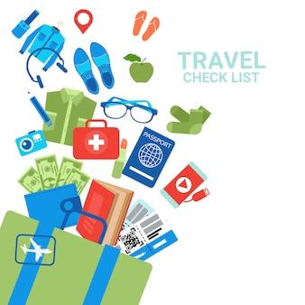 Lista di controllo di viaggio elementi di bagaglio, concetto di pianificazione del bagaglio