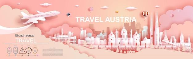 Compagnia di viaggio per l'architettura di palazzi e castelli di fama mondiale in austria. tour zurigo, ginevra, lucerna, interlaken, punto di riferimento dell'europa con carta tagliata.