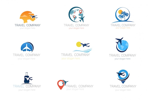 Loghi della compagnia di viaggi set collezione di agenzie turistiche modello Vettore Premium