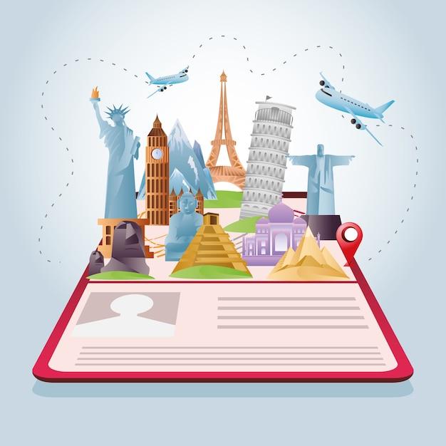 Composizione di viaggio con famosi monumenti del mondo e turismo sull'illustrazione del passaporto