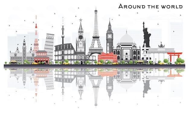 Concetto di viaggio intorno al mondo con famosi punti di riferimento internazionali. illustrazione di vettore. concetto di affari e turismo. immagine per presentazione, cartellone, banner o sito web.