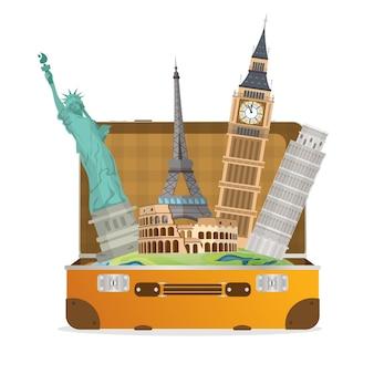 Concetto di viaggio. attrazioni da tutto il mondo. valigia con i panorami del mondo. elemento per la progettazione di banner di viaggio. elemento per il viaggio.
