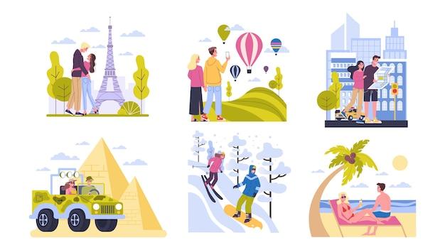 Concetto di viaggio. idea di turismo in tutto il mondo. coppie felici che hanno vacanze e vacanze all'estero. avventura in europa, america, egitto. viaggio nel fine settimana. illustrazione
