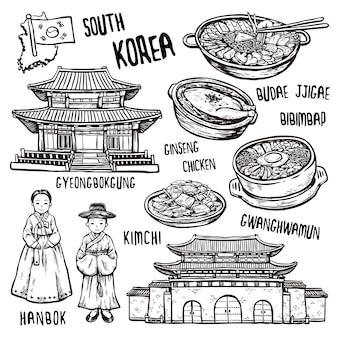Concetto di viaggio della corea del sud in squisito stile disegnato a mano